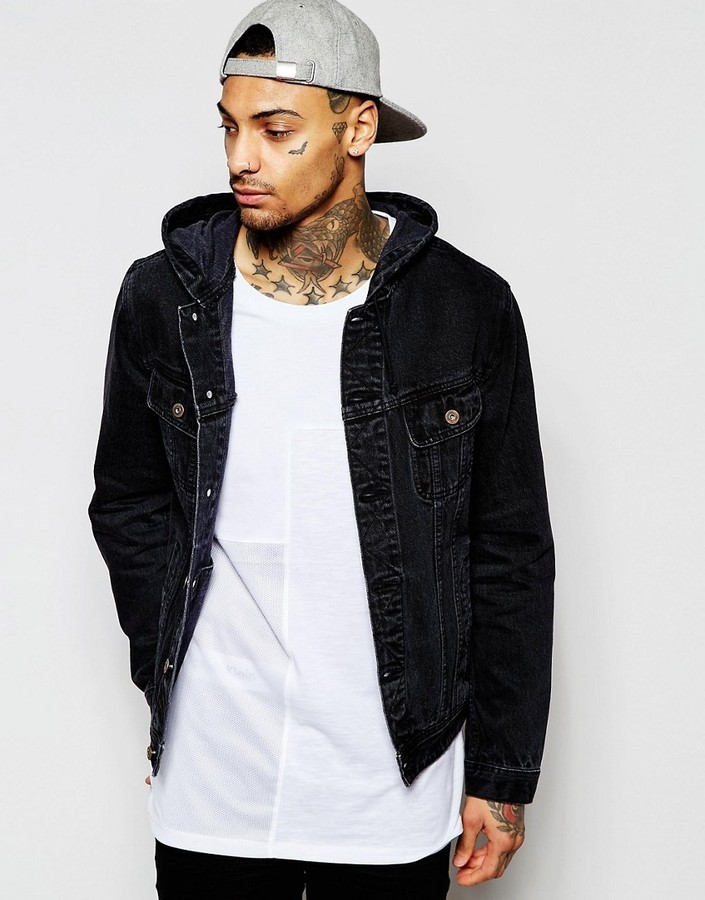 search for original select for clearance save up to 80% $65, Asos Brand Hooded Denim Jacket In Black