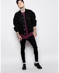 Asos Brand Oversized Denim Jacket In Black Wash 86 Asos