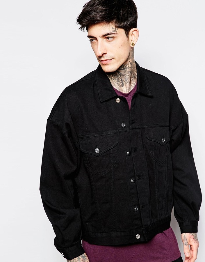 Asos Brand Oversized Denim Jacket In Black Wash | Where to buy ...