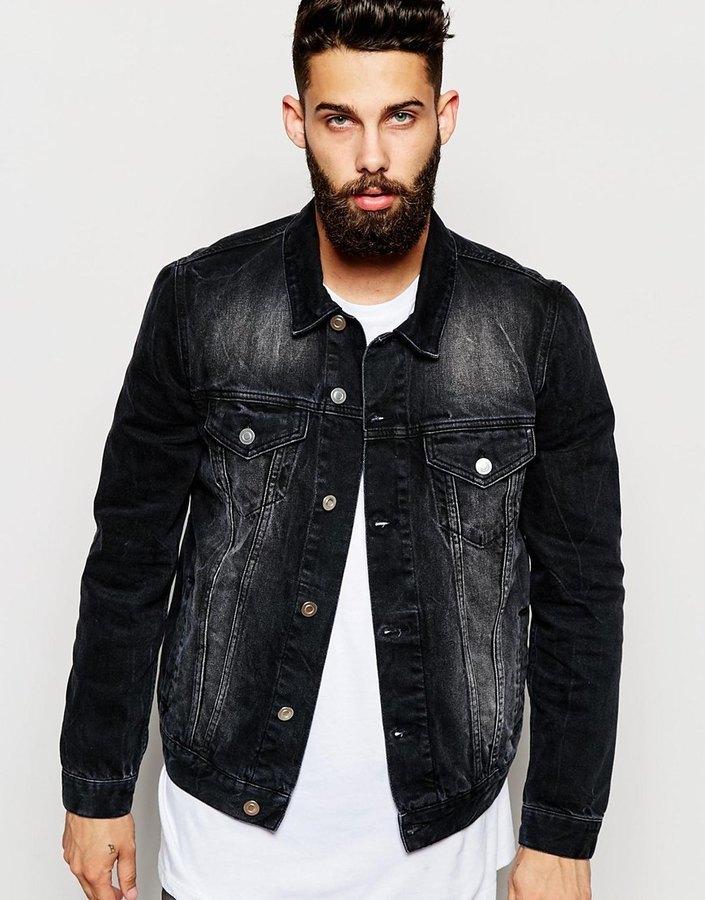 78f782a6915 Asos Brand Slim Fit Denim Jacket In Black, $72 | Asos | Lookastic.com