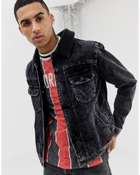 YOURTURN Cord Jacket In Washed Black With Borg Collar