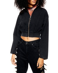 Topshop Crop Denim Track Jacket