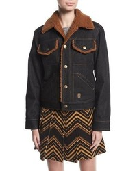 Marc Jacobs Cropped Denim Jacket With Faux Fur