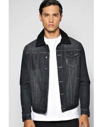 Boohoo Denim Jacket With Borg Collar
