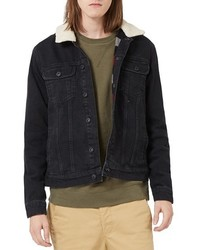 Topman Denim Jacket With Faux Shearling Collar