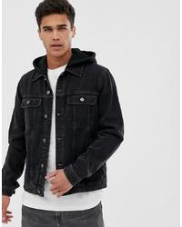 ASOS DESIGN Denim Jacket With Jersey Hood In Washed Black