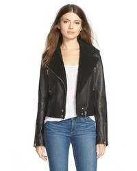 Denim rooney leather jacket with faux shearling collar medium 518670