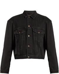 Balenciaga Exaggerated Shoulder Cropped Denim Jacket