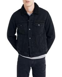 Madewell Faux Shearling Collar Denim Jacket