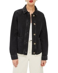 Topshop Horn Button Denim Shirt Jacket