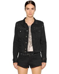 Diesel Lace Up Cotton Denim Jacket