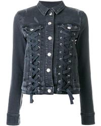 Versus Lace Up Denim Jacket
