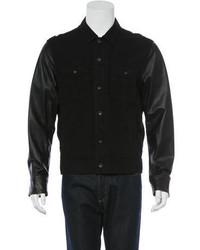 rag & bone Leather Paneled Denim Jacket