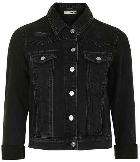 discount shop best prices cheap $80, Moto Fitted Denim Jacket