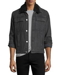 Helmut Lang Mr 87 Denim Jacket With Faux Fur Collar