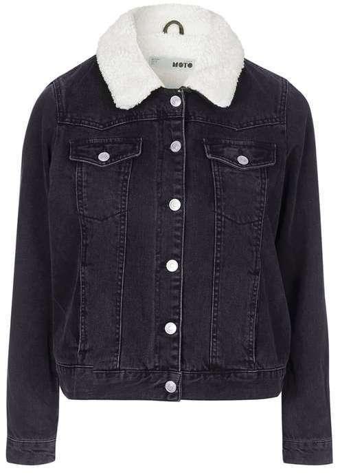 ea107fa121fb ... Black Denim Jackets Petite Borg Denim Jacket ...