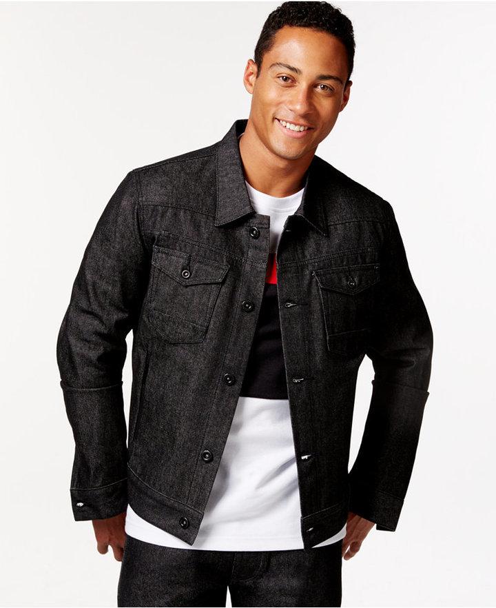 521931a7317 Sean John Racer Raw Black Wash Denim Jacket