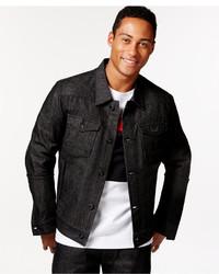 Sean John Racer Raw Black Wash Denim Jacket