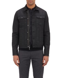 John Varvatos Star Usa Leather Trim Denim Jacket Black