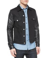 Belstaff Stockfield Leather Sleeve Denim Jacket Black