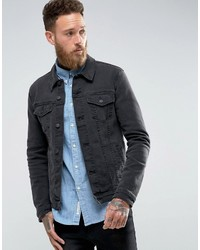 Asos Super Skinny Denim Jacket In Black