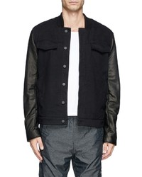 Alexander Wang T By Leather Sleeve Denim Jacket