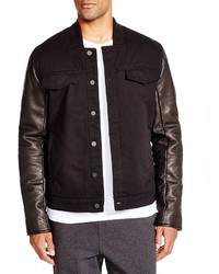 Alexander Wang T By Leather Sleeve Denim Jacket
