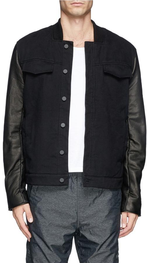 dea36be3228 ... Alexander Wang T By Leather Sleeve Denim Jacket ...