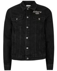 Topman Black Chain Stitch Denim Jacket