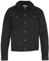 Topman Black Denim Shearling Bomber Jacket
