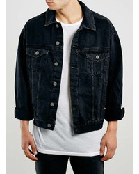 Black borg lined denim jacket topman