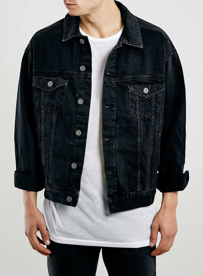 Topman Black Oversized Denim Western Jacket | Where to buy & how ...