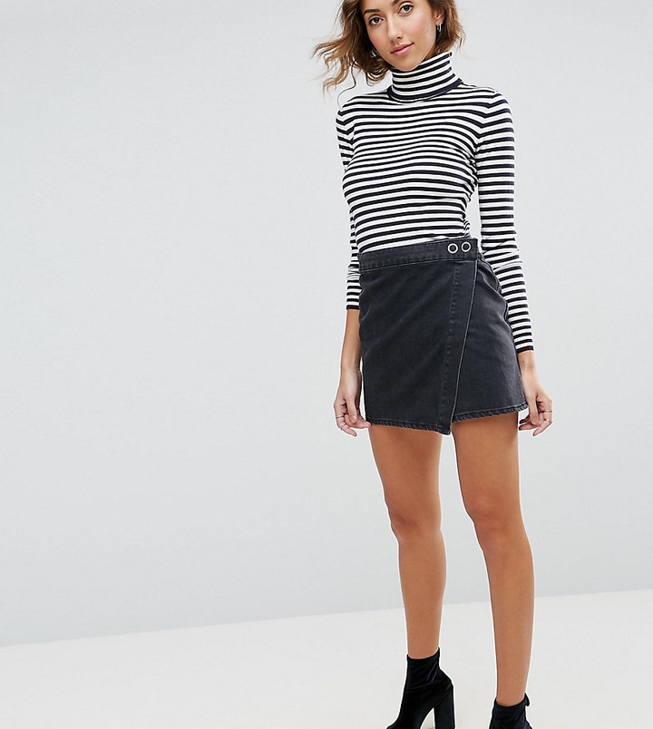 e7a6a725f Asos Tall Asos Tall Denim Mini Wrap Skirt In Washed Black, $35 ...
