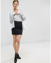Asos Denim Original High Waisted Skirt In Washed Black