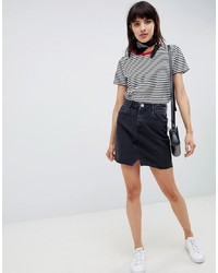 ASOS DESIGN Denim Pelmet Skirt In Washed Black