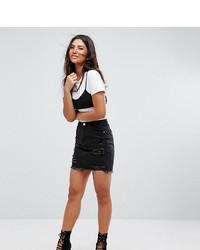 Missguided Distressed Denim Mini Skirt