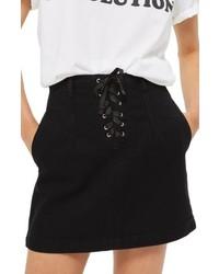 Lace up a line denim miniskirt medium 6697796