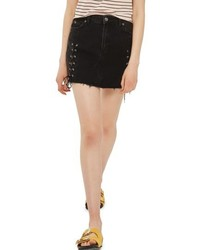 Topshop Lace Up Denim Miniskirt