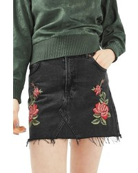 Topshop Rose Denim Miniskirt