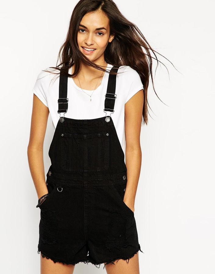 black overall shorts womens