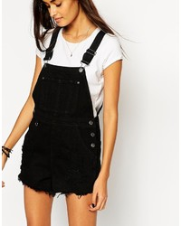 f75edff04f0 ... Asos Collection Denim Overall Short In Black With Raw Hem
