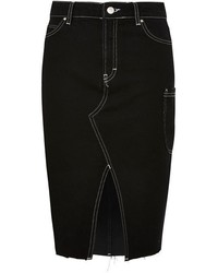 Moto contrast stitch denim midi skirt medium 5028359