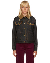 Marc Jacobs Black Cropped Denim Shearling Jacket