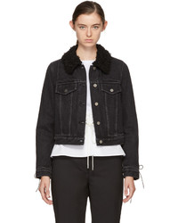 3.1 Phillip Lim Black Denim Shearling Collar Jacket