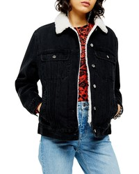 Topshop Oversize Denim Jacket With Faux