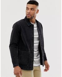 ASOS DESIGN Denim Worker Jacket In Washed Black