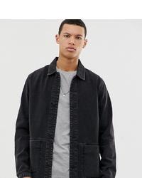 ASOS DESIGN Tall Denim Worker Jacket In Washed Black