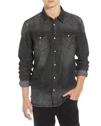 Scotch & Soda Amsterdams Blauw Western Denim Sport Shirt