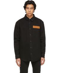Palm Angels Black Denim Curved Logo Shirt