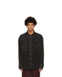 Dolce and Gabbana Black Denim Washed Dg Shirt